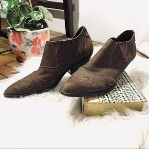 Vintage Circle S Brown Tooled Leather Shoe Booties